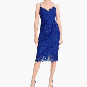 NEW J. Crew Spaghetti Strap Lace Dress Blue Size 4